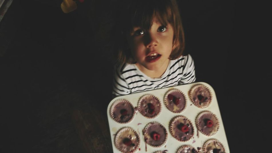 Muffins Kid Cooking Together Cooking Delicious Relaxing Time Children