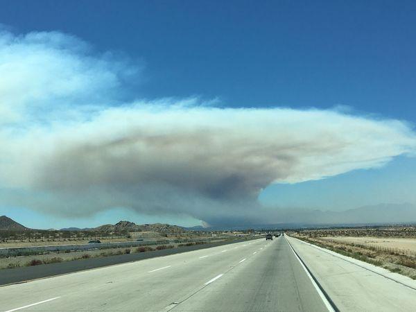 Fire cloud near St Bernardino CA Fire California St Bernardino Mountains