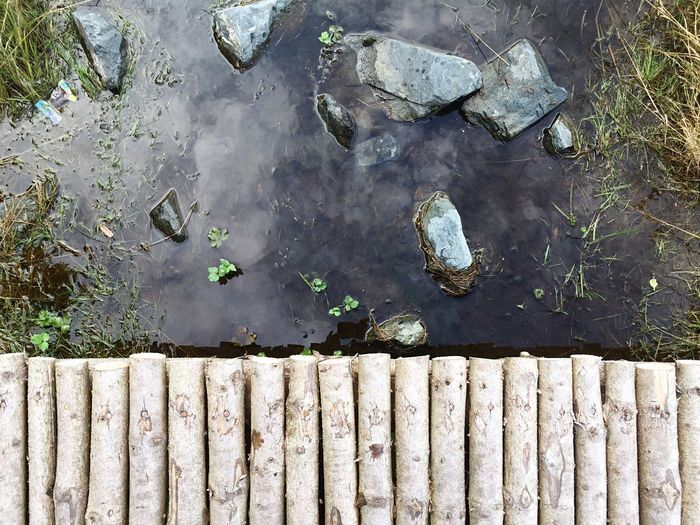Reflection of water surrounded by wall
