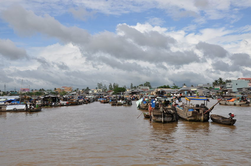 ASIA Asian Market Cloud - Sky Day Floating Market Floating On Water Gondola - Traditional Boat Market Mekong Delta Mekong River Nautical Vessel Tradition Travel Travel Destinations Vietnam Water