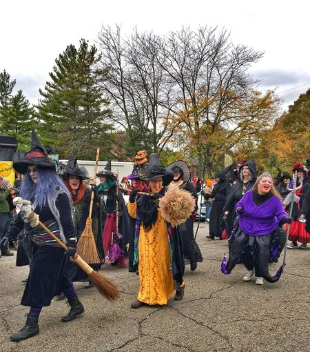 Arts Culture And Entertainment Full Length Day Tree Outdoors Performance Portrait Stage Costume Looking At Camera People Human Body Part Large Group Of People Adult Musician Witch Adults Only Halloween