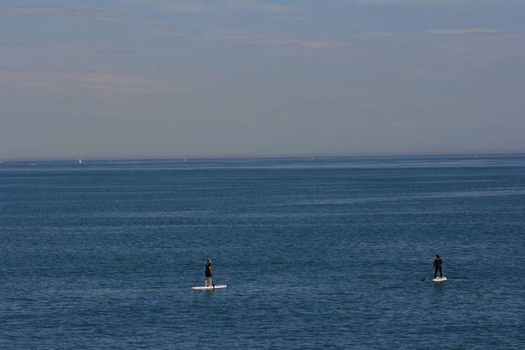 Rafting in calm blue sea