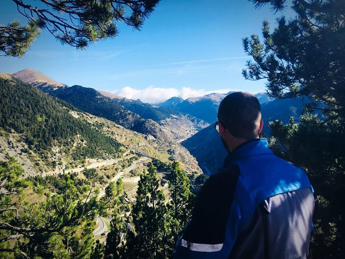 Vall d'Ordino Rear View Real People Mountain Adventure Beauty In Nature Nature One Person Leisure Activity Lifestyles Men Backpack Sunlight Outdoors Day Andorra Mountain View To The Top