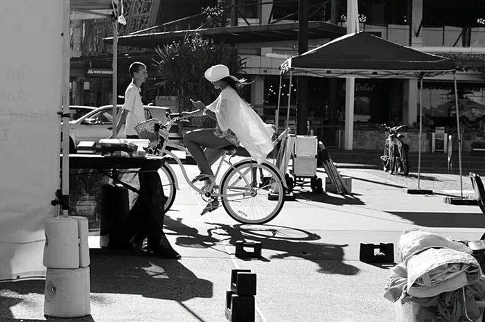 Cyling Cyclist Streetphotography Blackandwhite Photography Woman Australia GoldCoast Beach Photography Beach Girl Mobile Phone