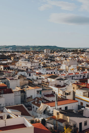High angle view of the rooftops in seville, spain, during golden hour.