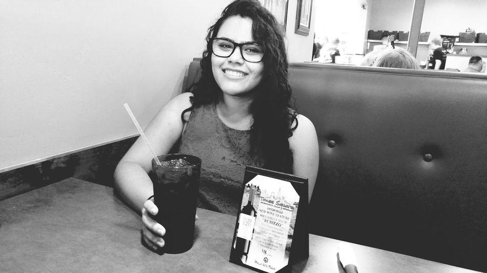 Vintage Balck And White Enjoying Life Restraunt Smile Latina