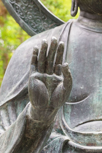 Close-up of hand statue against tree