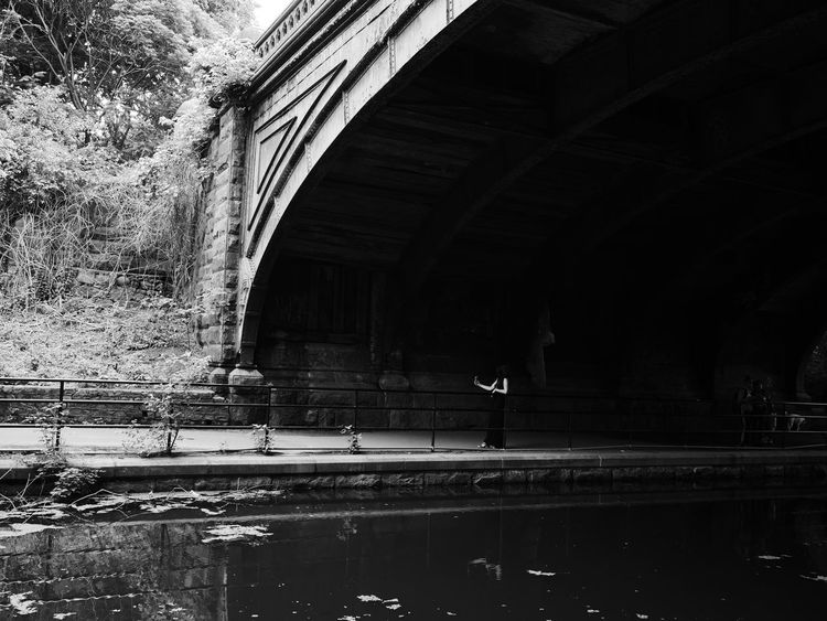 Brooklyn Architecture Black And White Photography Bridge Bridge - Man Made Structure Built Structure Day Devices Nature Outdoors Real People Selfie Transportation Tree Under Water