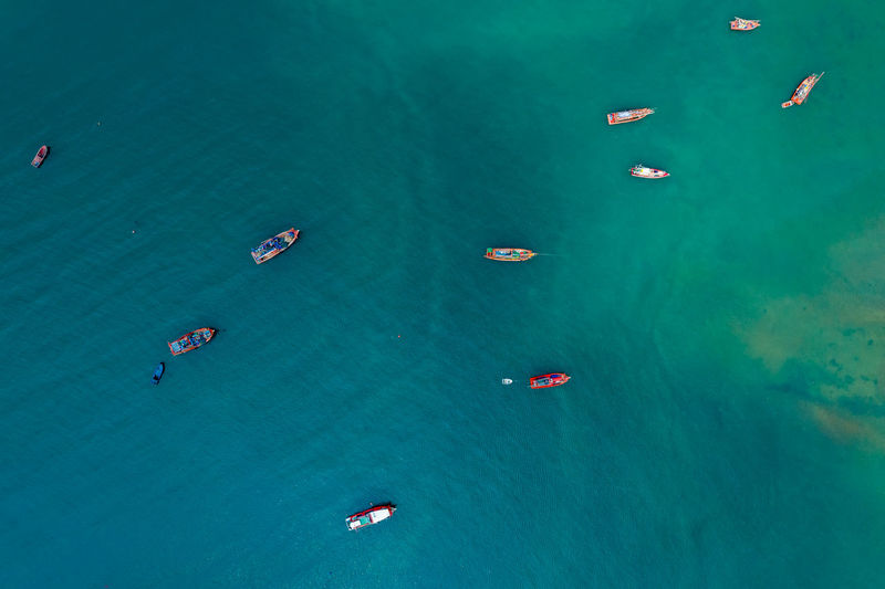 High angle view of shipping sailing in sea