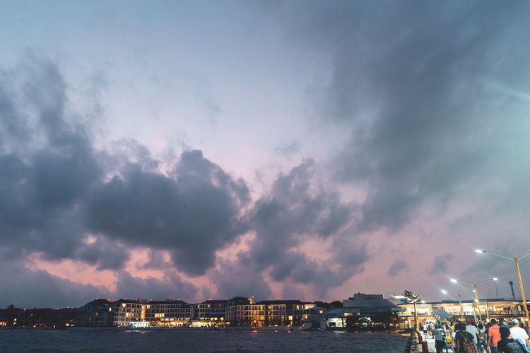 Cloud - Sky Sky Architecture Built Structure City Water Building Exterior Illuminated Nature Transportation Building Nautical Vessel Beauty In Nature Sea Sunset Outdoors Night Dusk No People Cityscape