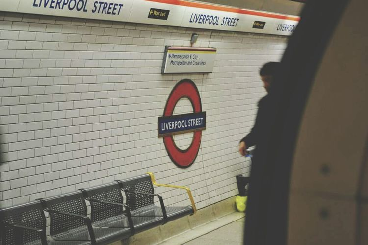 City Lines Street Urban Town Minimal London Metro Station Underground Underground Station  Liverpoolstreet Communication Day Built Structure Outdoors Real People People Architecture EyeEmNewHere