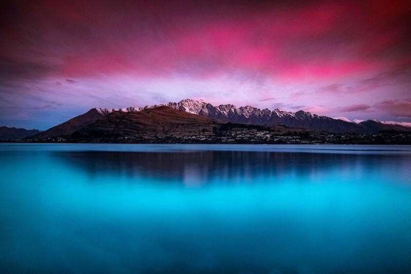 Beauty In Nature Cloud - Sky Environment Idyllic Lake Mountain Mountain Range Nature No People Non-urban Scene Outdoors Reflection Scenics - Nature Sky Sunset Tranquil Scene Tranquility Water Waterfront