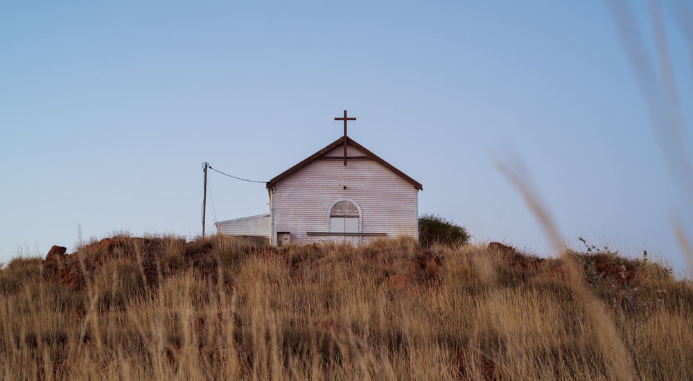 Old Church in Marble Bar, Western Australia Australian Landscape Blue Sky Built Structure Church Copyspace Corregated Steel Field Landscape No People Old Buildings Outdoors Outdoors Photograpghy  Rural Scene Sky Tranquility