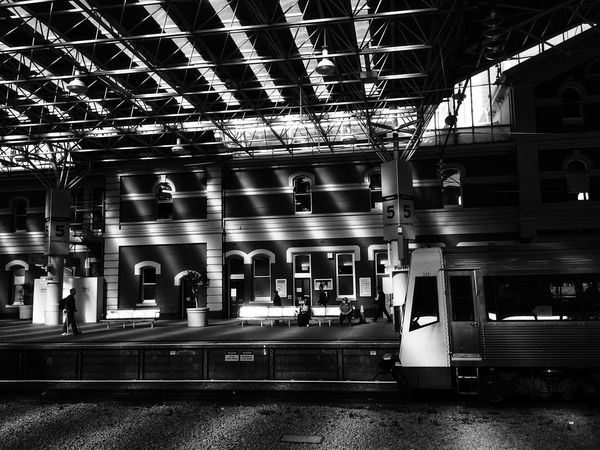 Waiting for train Public Transportation Commuting Blackandwhite Traveling