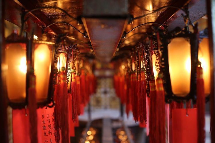 Hanging Illuminated Lighting Equipment In A Row Indoors  Religion No People Spirituality Place Of Worship Close-up Red Lantern Night EyeEm Ready