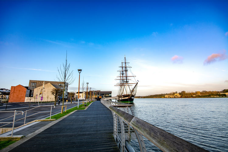 New Ross Tall Ship Blue Sky Dunbrody Early Morning Femine Ship River Sebastiankolczynskiphotography Ship Sky Sunrise The Quey