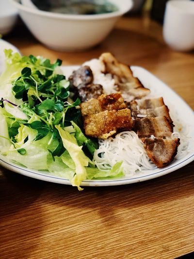 Bun cha Vietnamese Food Noodles Buncha Food And Drink Plate Freshness Serving Size Food Ready-to-eat Indoors  Healthy Eating Salad Lettuce Close-up