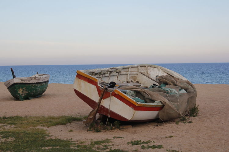 Abandoned Beach Boat Fish Boat Fishboat Fishing Net Mediterranean  Nature Net Sand Sea Shore Water