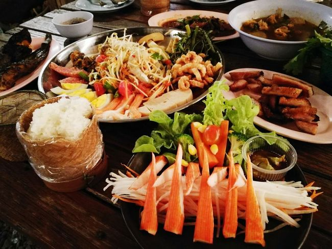Ready-to-eat Food And Drink Food Freshness Healthy Eating Serving Size Seafood Plate No People Indoors  Table High Angle View Bowl Indulgence Close-up Day ตำถาด ตำถาดกุ้งสด