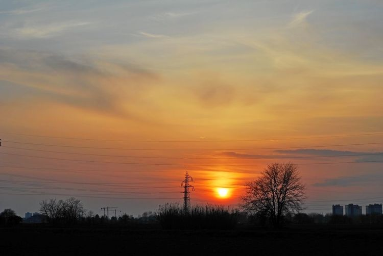 Bare Tree Beauty In Nature Cable Chiaravalle, Milano Cloud - Sky Electricity  Electricity Pylon Landscape Nature No People Orange Color Outdoors Scenics Silhouette Sky Sun Sunset Tranquil Scene Tranquility Tree