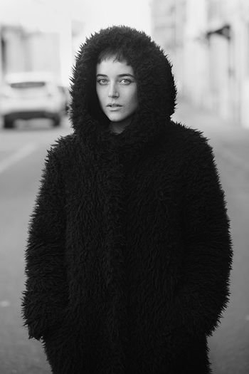 Black & White Beautiful Woman Black And White Blackandwhite Close-up Day Fashion Focus On Foreground Front View Fur Fur Coat Jacket Lifestyles Looking At Camera Model One Person Outdoors People Portrait Real People Warm Clothing Winter Young Adult Young Women