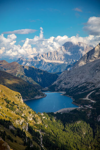 Dolomites Dolomites, Italy Staudamm Travel Alps Beauty In Nature Civetta Cloud - Sky Dam Day Dolomiti Fedaia Idyllic Italy Lago Di Fedaia Lake Landscape Mountain Non-urban Scene Scenics - Nature Sunshine Travel Destinations Water