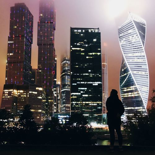 Moscow City Night Silhouette Skyscraper Autumn River Lights City Life Man Nightphotography Justgoshoot Photography Moscowriver Leica Huawei P10 Plus First Eyeem Photo