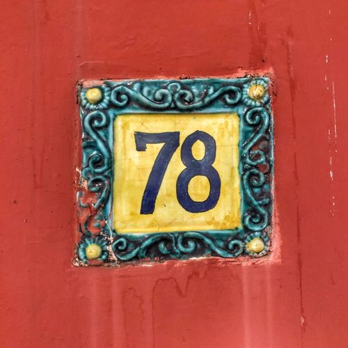 Street Number Red Close-up Yellow Wall - Building Feature Metal No People Number