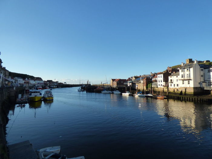 River Against Clear Blue Sky At Whitby