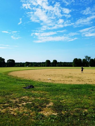 Field Day Nature Beauty In Nature Only Men Outdoors Sky Grass One Man Only One Person People Tree Adult Softball Softball Sunday Sunday Funday Game Ballgame Softball Field Spectator