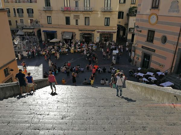 Architecture Building Exterior City Built Structure Group Of People Real People Street Crowd Large Group Of People Men Lifestyles Women City Life Adult Day Leisure Activity Transportation Outdoors Scala Scalinata Duomo Duomo Di Amalfi Turisti Centro Storico Piazza