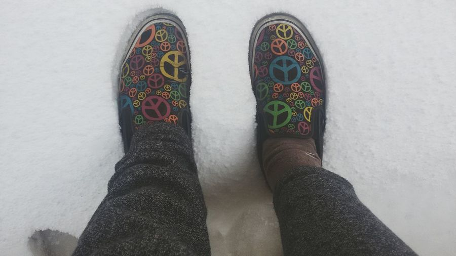 The Snow from 3 weeks ago.. Cold Shoes Peace Style Colorful Fassion From Where I Stand Negative Space