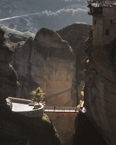 High angle view of bridge amidst mountains