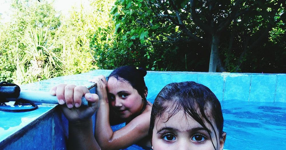 Headshot Child Water Swimming Pool Looking At Camera Wet Day Childhood Girls Children Only Togetherness Summer Nieces👼🎁🎉