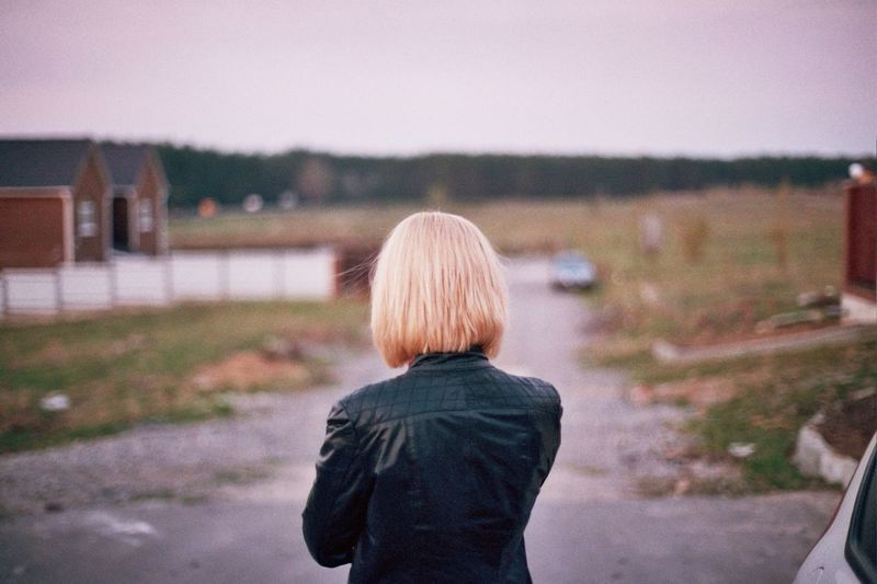 Rear view of a woman looking at a view