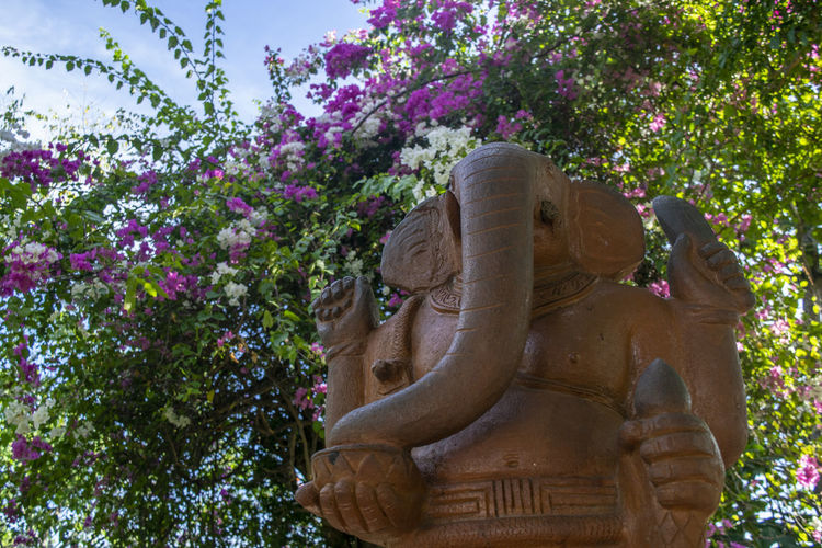 Low angle view of statue amidst flowering plants against trees