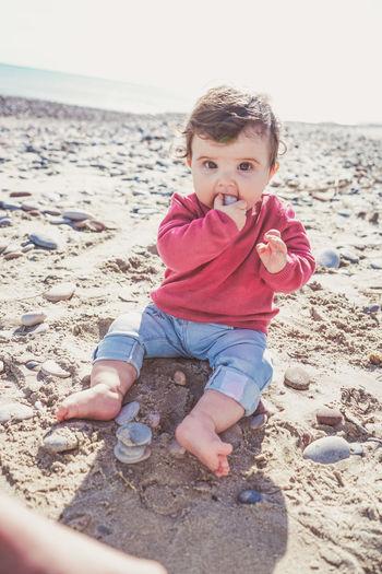 Portrait of cute boy on beach