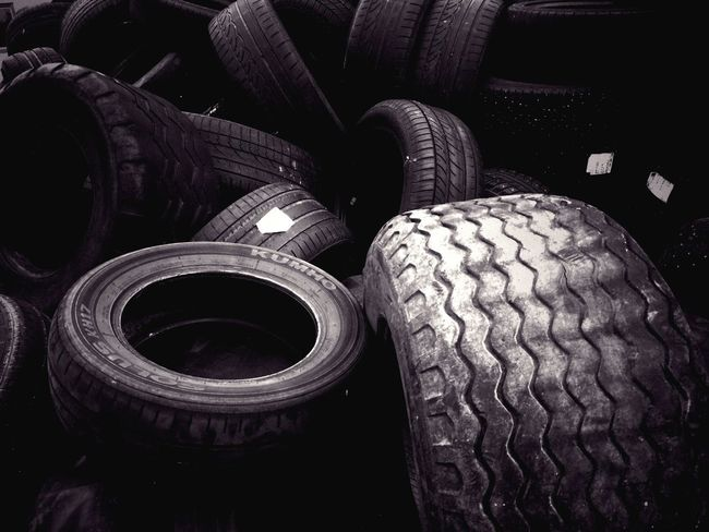 Found a couple of tires lying around Abandoned Tires Automotive Minimalism Circles Black And White Circular Pattern Pieces