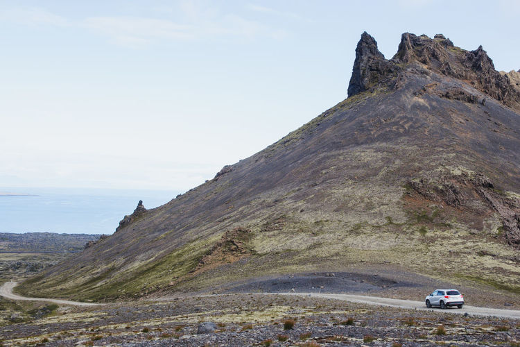 Snæfellsjökull, Iceland Transportation Car Adventure Driving Land Vehicle Mountain Sky Nature Road Outdoors Environment Country Road Countryside Ring Road Nature Beauty In Nature No People Travel Land Road Trip