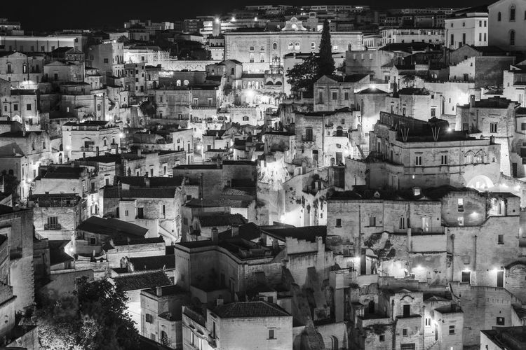 Sassi di Matera at night. European Capital of Culture. Black and white Architecture Built Structure Building Exterior City Building Residential District Outdoors No People Matera Italy Black & White Basilicata, Italy  Sassi Di Matera Sassi Architecture Street UNESCO World Heritage Site Ancient Architecture Village Wheel Church Tourism Destination Historic House Landscape