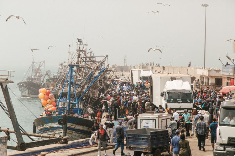 I love visit fish market, specially when is beside the sea! Birds Flying EyeEmNewHere Fisher Boat Market People Watching Birds Boat Fish Market Fisherman Lot Of People People Buying Sky