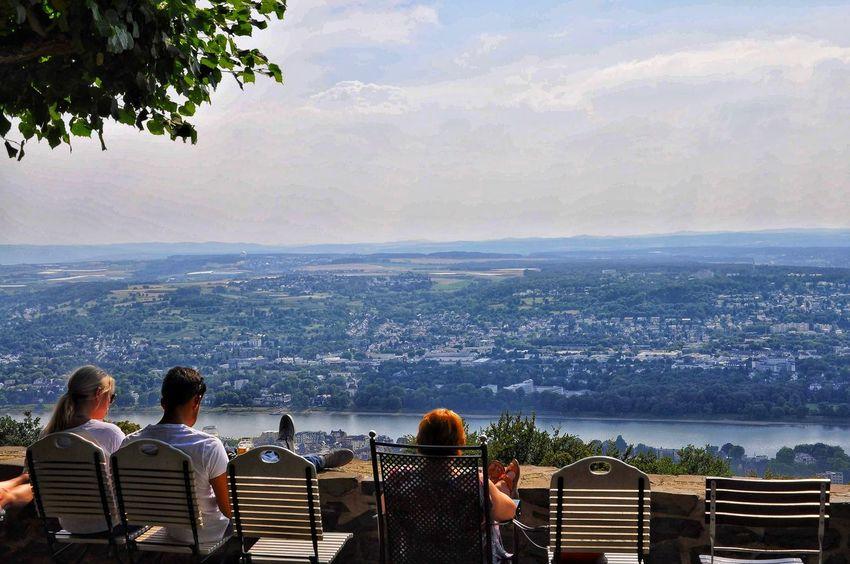 Blick über den Rhein City Cityscape Water Tree Men Women Group Of People Sky