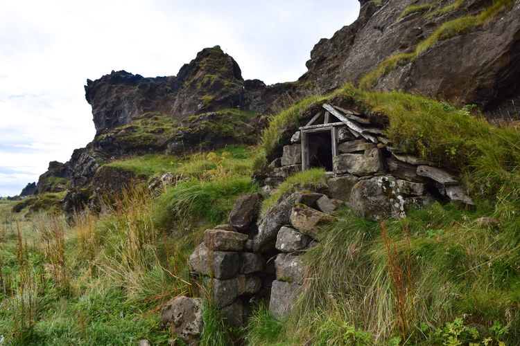 Grass House, Iceland Architecture Beauty In Nature Cliff Day Grass Grass Growth Hiking Iceland Landscape Low Angle View Mountain Nature No People Outdoors Rock - Object Scenics Sky Tourism Travel Destinations Vacations