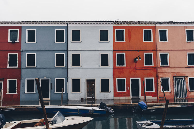 Architecture Building Exterior Built Structure Burano City Day Mode Of Transport Moored Nautical Vessel No People Outdoors Transportation Travel Destinations Venice Water Window