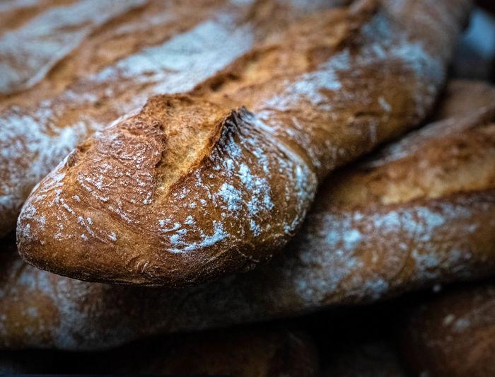 Full frame shot of bread on table