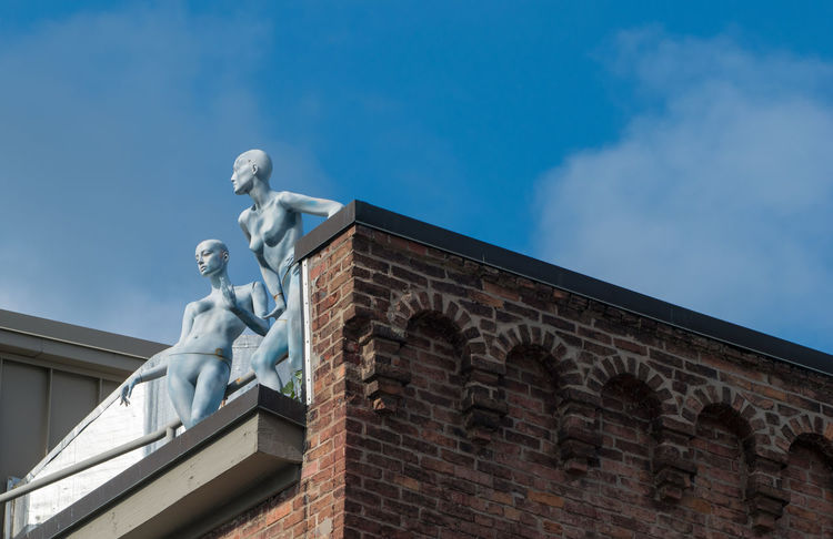 Statue Architecture Building Exterior Built Structure Low Angle View Mannequins Women Talking Rooftop Brick Silver  No People Cityscape Sky Day City Armory Square Syracuse Ny