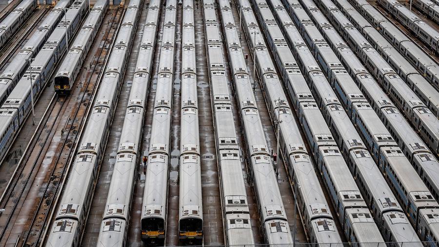 Full frame shot of trains at shunting yard