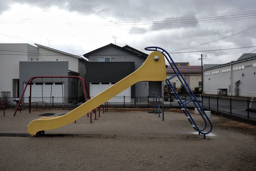 Winter/冬 Yellow Playground Slide - Play Equipment Built Structure Outdoor Play Equipment Sky Cloud - Sky Building Exterior Outdoors No People Architecture Day Canon EOS M5 in Niigata-shi Niigata