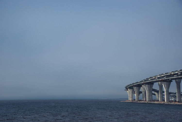 WHSD in Saint Petersburg Architecture Bridge Built Structure Cloud Fog Gulf Horizon Over Water No People Outdoors Saint Petersburg Seascape Sky Water Waterfront Waves Weather Whsd