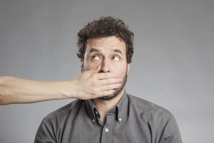 Man Mouth Negative Not Senses Close-up Gray Background Hand Impairment Male Mid Adult Men Mood People Portrait Shutting Up Silencing Studio Shot